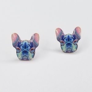 Jewelry - NWT Multicolor Frech Bulldog Dog Stud Earrings